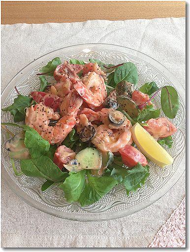 海老と夏野菜のオーロラソース和え