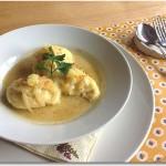 ホタテと白身魚のクネル 柚子とクリームのソース