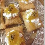 シェーブルチーズと柚子ジャムのカナッペ