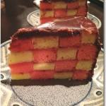 ピンク×白の4段のダミエ柄!!!! サンセバスチャンケーキ