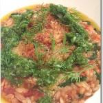 サバと菜花のリゾット セロリのピリ辛ソース添え