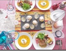 7月のレッスン 南フランス料理♪ にんじんスープ × 鶏もも肉のハーブロースト × 白ワインゼリー × レモンクリームのシュー