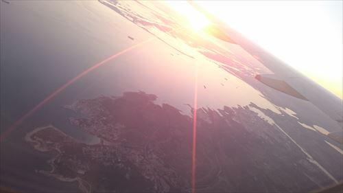 飛行機夕日